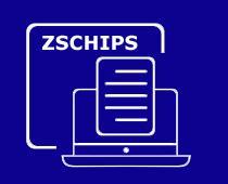 napis ZSCHIPS na niebieskim tle otoczony grafiką w postaci laptopa i kartki
