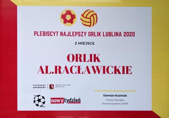Plebiscyt Najlepszy Orlik Lublina 2020 - 2 miejsce dla naszego Orlika