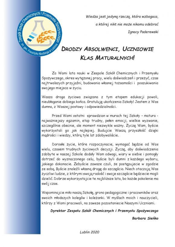 Treść listu tożsama z wersją pdf