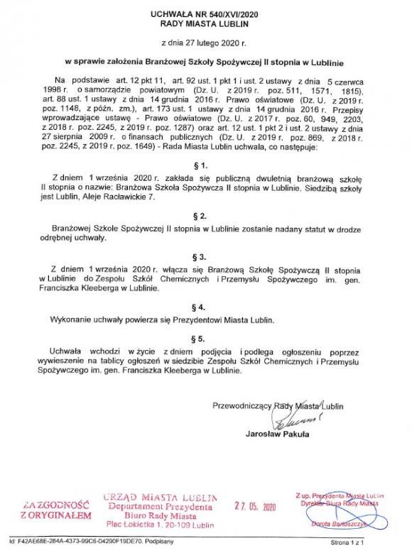 Uchwała nr 540/XVI/2020 Rady Miasta Lublin