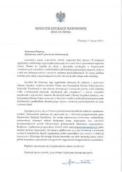 List Minister Edukacji Narodowej do dyrektorów