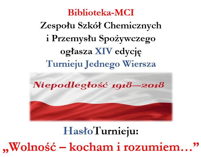 Turnieju Jednego Wiersza Zespół Szkół Chemicznych I
