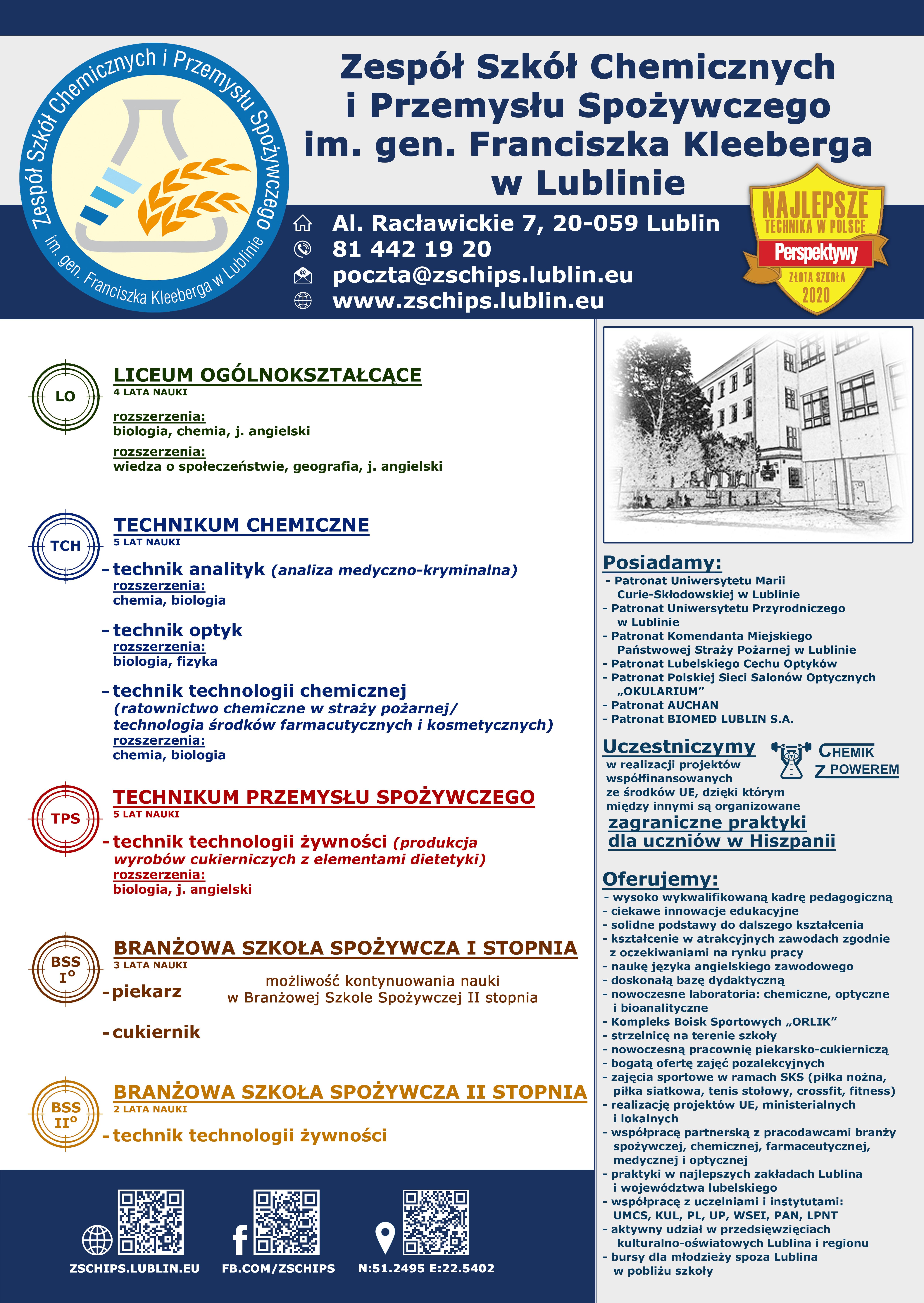Plakat z ofertą rekrutacyjną ZSCHiPS na rok szkolny 2020-2021